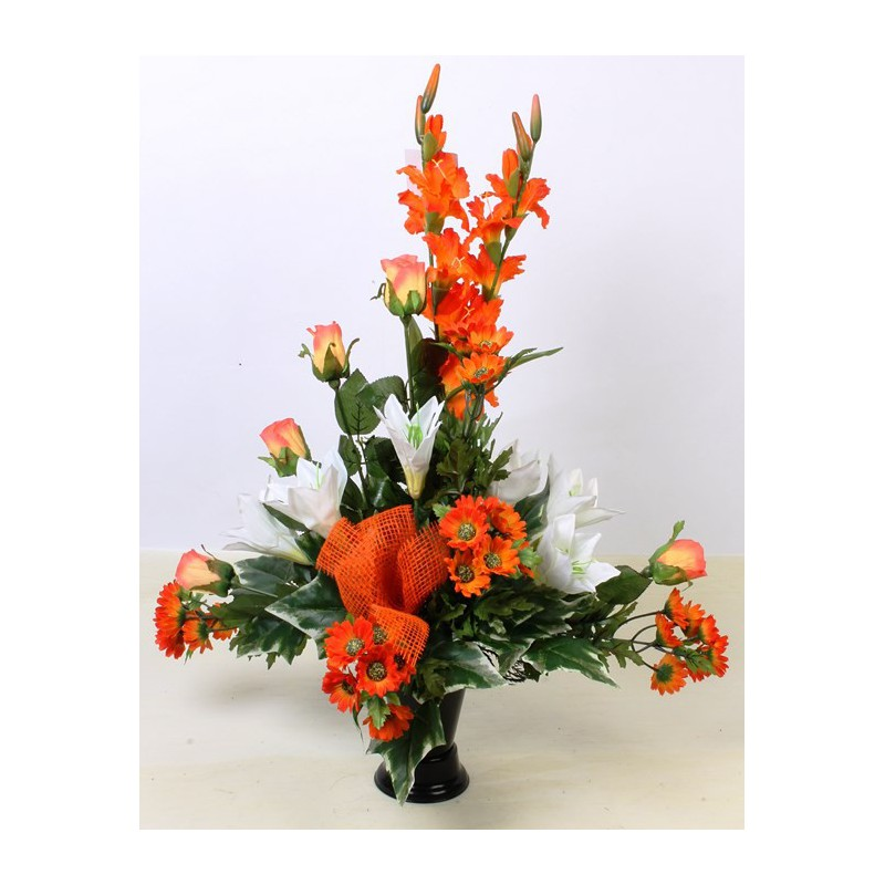 importateur grossiste composition fleurs artificielles funeraire 908 bouquet vase orange. Black Bedroom Furniture Sets. Home Design Ideas