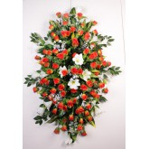 875 DESSUS DE CERCUEIL 80 CM ORANGE-YELLOW ROSE LONGIFL.BOUTON GYPSO