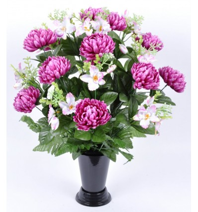 BV CHRYSANTHEME BOULE PM ORCHIDEE X24 + FOUGERES ASSORTI