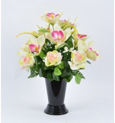 BOUQUET VASE ORCHIDEE ROSE ASSORTI