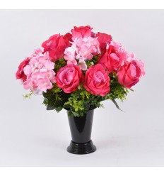 BOUQUET VASE ROSE HORTENSIA BEAUTY