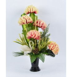 BOUQUET VASE CHRYSANTHEME CREME ROSE