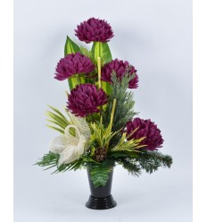 BOUQUET VASE CHRYSANTHEME BURGUNDY