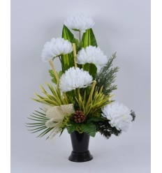 BOUQUET VASE CHRYSANTHEME BLANC