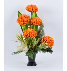 BOUQUET VASE CHRYSANTHEME ORANGE