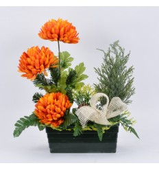 JARDINIERE 25 CM CHRYSANTHEME ORANGE
