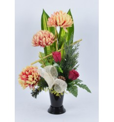BOUQUET VASE CHRYSANTHEME BOUTON CREME ROSE