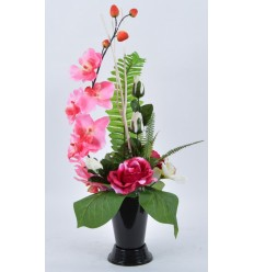 BOUQUET VASE ROSE ORCHIDEE