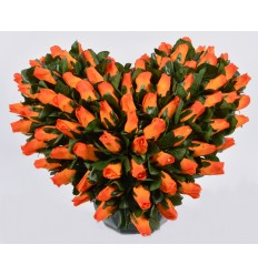 COEUR DE 30 CM MINI BOUTON SUR COUPE OCEA JAUNE ORANGE