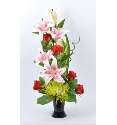 BOUQUET VASE LYS ROSE ROUGE