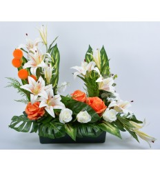 JARDINIERE 40 CM LYS ROSE BOULE ORANGE