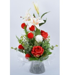 BOUQUET BULLE LYS ROSE BOULE RED