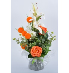 BOUQUET BULLE LYS ROSE BOULE ORANGE