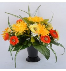 BOUQUET DE VASE CHRYSANTHEME PLAT RENONCULE ASS