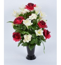 BOUQUET DE VASE LONGIFLORUM ROSE HORTENSIA ASS