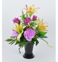 BOUQUET DE VASE LILIUM ROSE DAISY ASSORTI