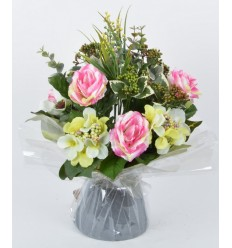 BOUQUET BULLE ROSE HORTENSIA BAIE LILAC/PINK