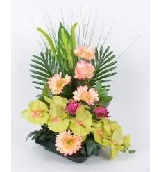 COUPE CARREE ORCHIDEE GRAMINEE GREEN/SALMON