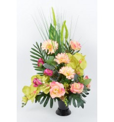 BOUQUET DE VASE ORCHIDEE GRAMINEE GREEN/SALMON