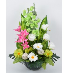 HORTICOLE 25 CM HOUBLON LILY PINK/GEEN/WHITE