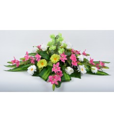 COUSSIN 30 CM HOUBLON LILY PINK/GREEN/WHITE