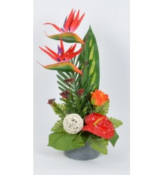 POT STABLE BETON STRELITZIA ANTHURIUM RED