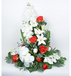 DEVANT DE TOMBE GM ORCHIDEE ROSE EUCALYPTUS RED/WHITE