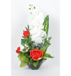 OCEA 17 CM ORCHIDEE ROSE EUCALYPTUS RED/WHITE