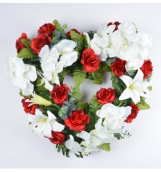 COEUR OUVERT ORCHIDEE ROSE EUCALYPTUS RED/WHITE