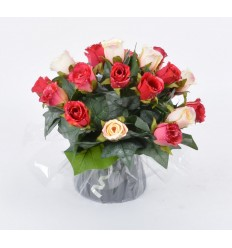 BOUQUET BULLE  BOUTON DE ROSE GOUTTE D'EAU RED
