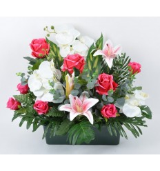 JARDINIERE 25 CM ORCHIDEE ROSE EUCALYPTUS RED/WHITE
