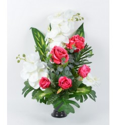 BOUQUET DE VASE ORCHIDEE ROSE EUCAPTUS RED/WHITE