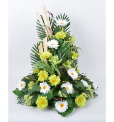 PLATEAU RECTANGLE ORCHIDEE GERBERA WHITE/GREEN