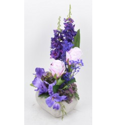 COEUR BETON GM ROSE DELPHINIUM GLAIEUL PURPLE