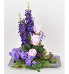 RECTANGLE PM ROSE DELPHINIUM GLAIEUL PURPLE