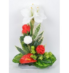 RECTANGLE PM AMARYLLIS ANTHURIUM ROSE RED