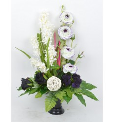 BOUQUET DE VASE JACINTHE EGLANTINE CREAM PURPLE BLACK