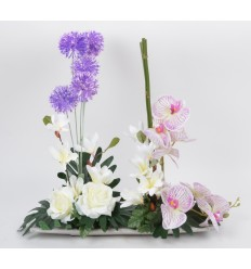 COUPE BAMBOU GM ORCHIDEE MAGNOLIA ALLIUM CREAM PURPLE