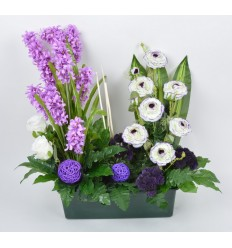 JARDINIERE 40 CM JACINTHE EGLANTINE CREAM PURPLE BLACK