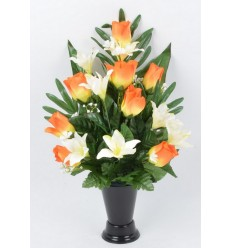 BOUQUET DE VASE BOUTON LYS ROSE ASS