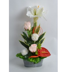 JARDINIERE BETON AMARYLLIS ANTHURIUM ROSE RED