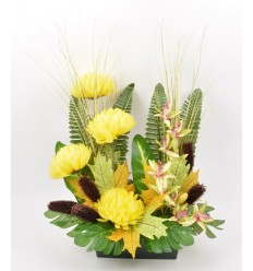JARDINIERE 25 CM CHRYSANTHEME ORCHIDEE YELLOW