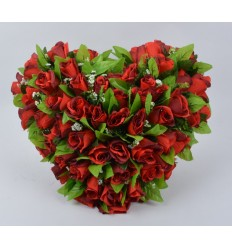 COEUR 30 CM BOUTONS ROUGE