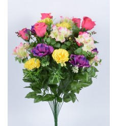 BOUTON/HORTENSIA/ANEMONE/ASTER X 36 PINK/LILAC/YELLOW