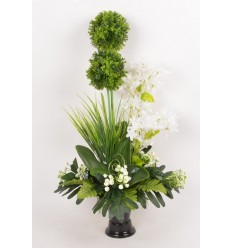 BOUQUET DE VASE ALLIUM OMBRELLE ACHILLEA CREAM GREEN