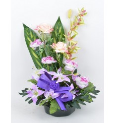 COUPE MARGUERITE OEILLET ORCHIDEE LYS LILAC SALMON