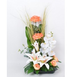 COUPE CARRE LYS ORCHIDEE ROSE EUCALYPTUS RED WHITE