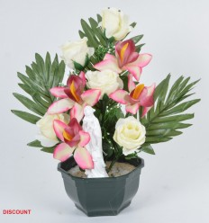 COUPE 15 CM ORCHIDEE ROSE VIERGE X9 ASS