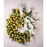 914 COURONNE GM JAUNE ORCHIDEE BOUTON FEUILLAGE
