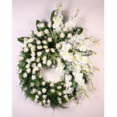 914 COURONNE GM BLANC ORCHIDEE BOUTON FEUILLAGE